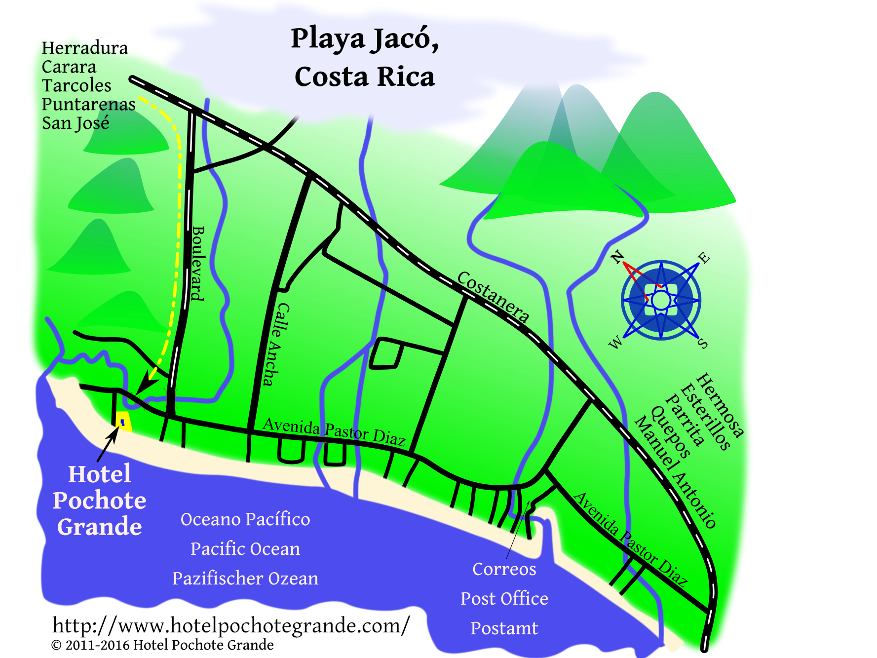 Map of Jaco Beach